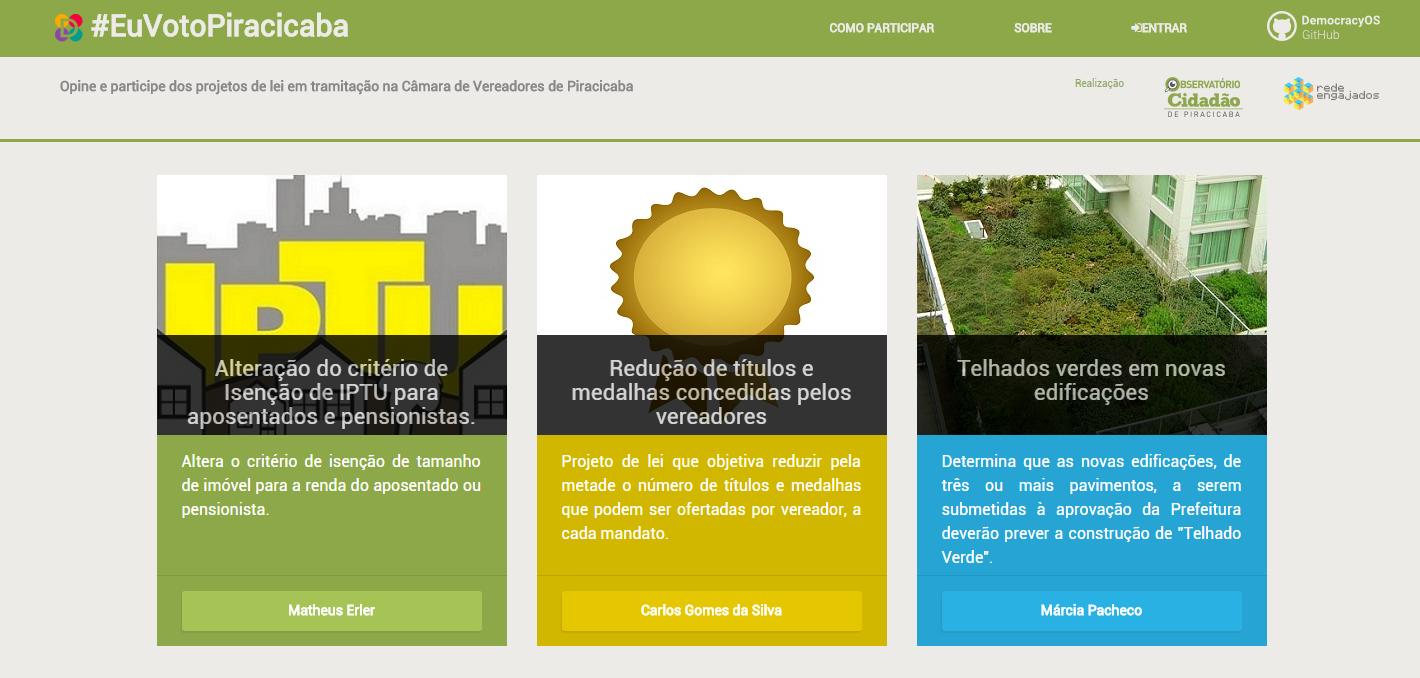 Visualização da plataforma #EuVotoPiracicaba