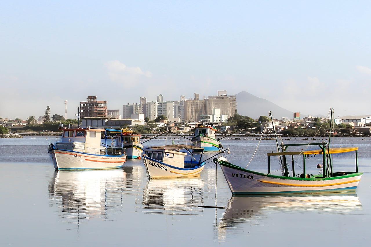 Foto de uma paisagem com barcos de pesca na água, em primeiro plano. Ao fundo, diversos prédios em um dia ensolarado.